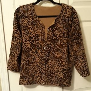 1X size 18 animal print cardigan sweater top shirt